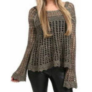 Free People Annabelle Crochet sweater A0789